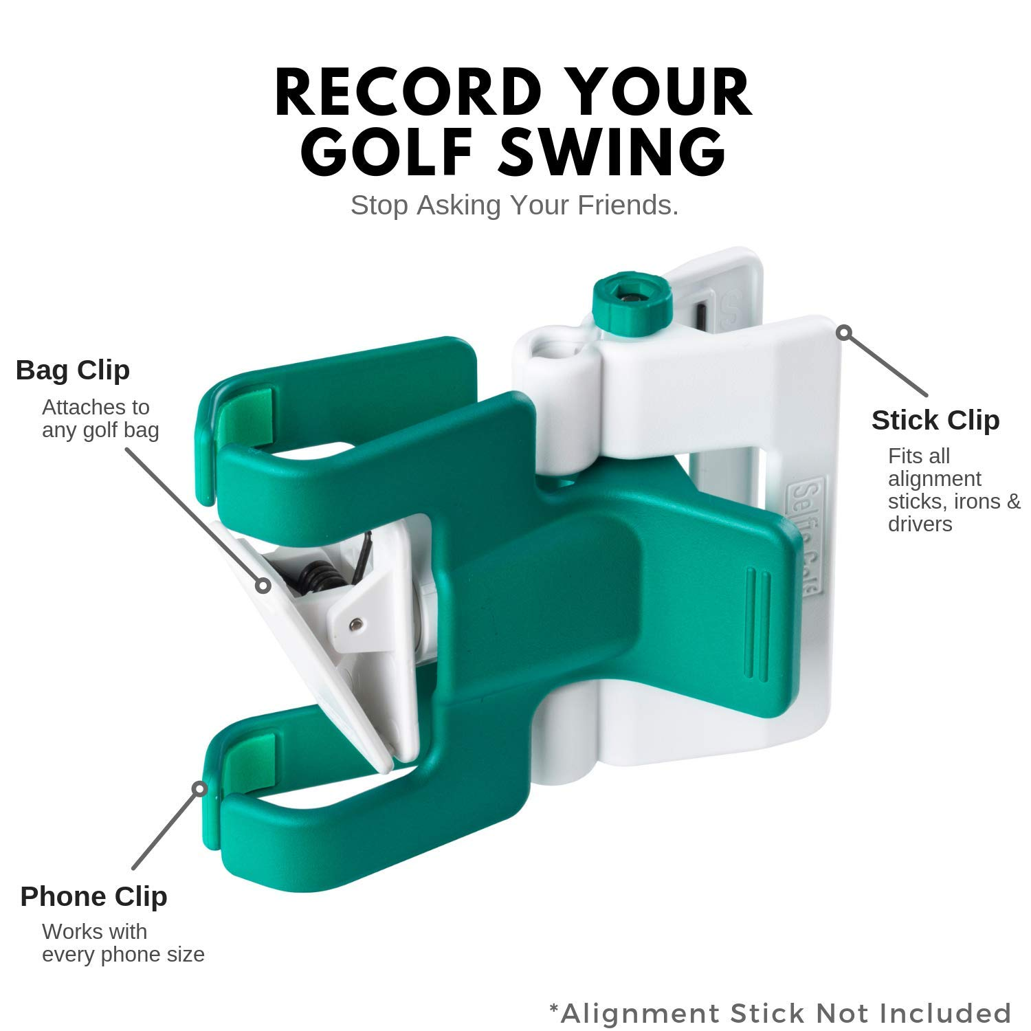 SelfieGolf Record Golf Swing - Cell Phone Clip Holder and Training Aid - Golf Accessories | Winner of The PGA Best Product | Works with Any Smart Phone, Quick Set Up (Green/White) by Selfie Golf (Image #3)