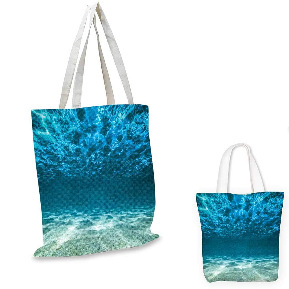 14x16-11 Ocean canvas messenger bag Fish Schools Swimming Submerged Ancient Coral Reefs Nature Marine World foldable shopping bag Blue Yellow and Purple