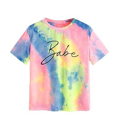 a0c464cab81 SweatyRocks Women's Rolled Short Sleeve Tie Dye T-Shirt Casual Tee Top  Multicolor #5