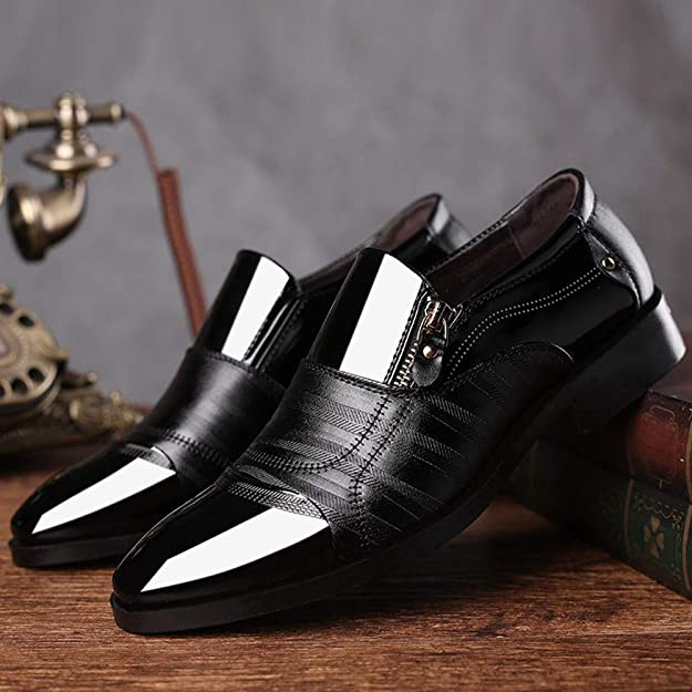 Amazon.com | Business Dress Shoes Pointed Head Men Shoes A Pedal Casual Lazy Side Zipper Shoe Black | Shoes