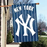 """Official Major League Baseball Fan Shop Authentic MLB Man Cave Flag - Banner. This Oversize 44"""" X 28"""" Flag Is Great for Indoors/outdoors All Season Long. Heavy-weight Nylon and Applique Embroidery Will Make Your Any Room Show Support for the New York Yankees."""