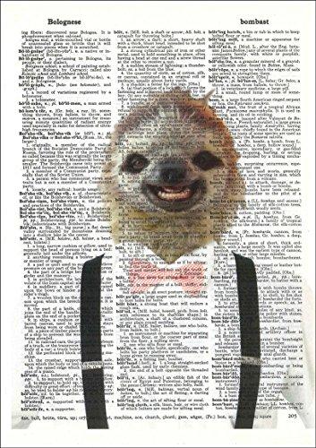Hipster Sloth - Dictionary Art Print - Sloth Art