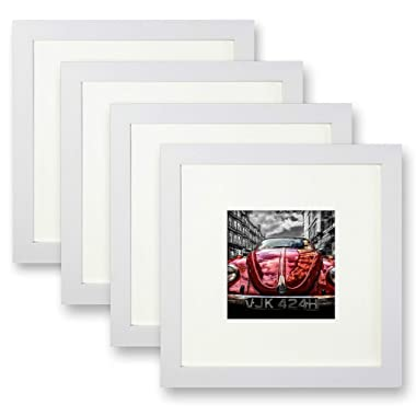 Ohbingo 8 x 8 Picture Frame White Photo Tabletop Frames Stand Set of 4 Pictures 4x4 Mat 8x8 Without Mat Table Wall Decoration