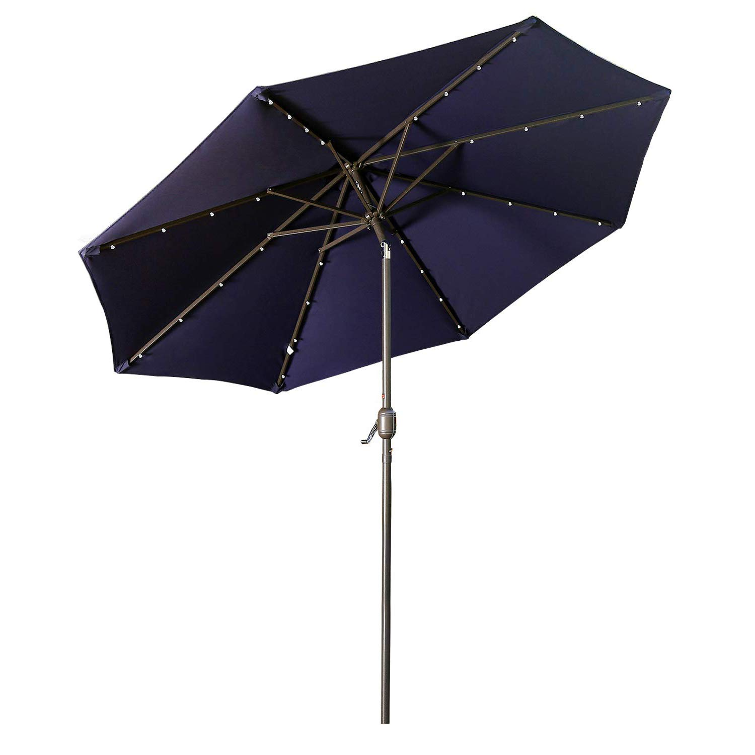 Aok Garden LED Outdoor Umbrella,9 ft Patio Umbrella LED Solar Power with Push Button Tilt and Crank Lift Ventilation,8 Sturdy Ribs Non-Fading Sunshade,Navy Blue