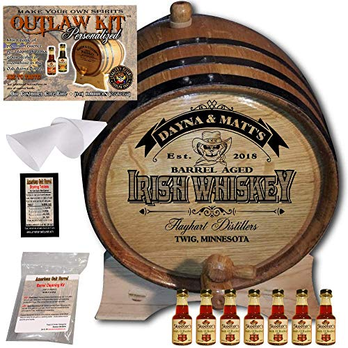 Reserve Irish Whiskey - Personalized Whiskey Making Kit (105) - Create Your Own Irish Whiskey - The Outlaw Kit from Skeeter's Reserve Outlaw Gear - MADE BY American Oak Barrel - (Oak, Black Hoops, 5 Liter)