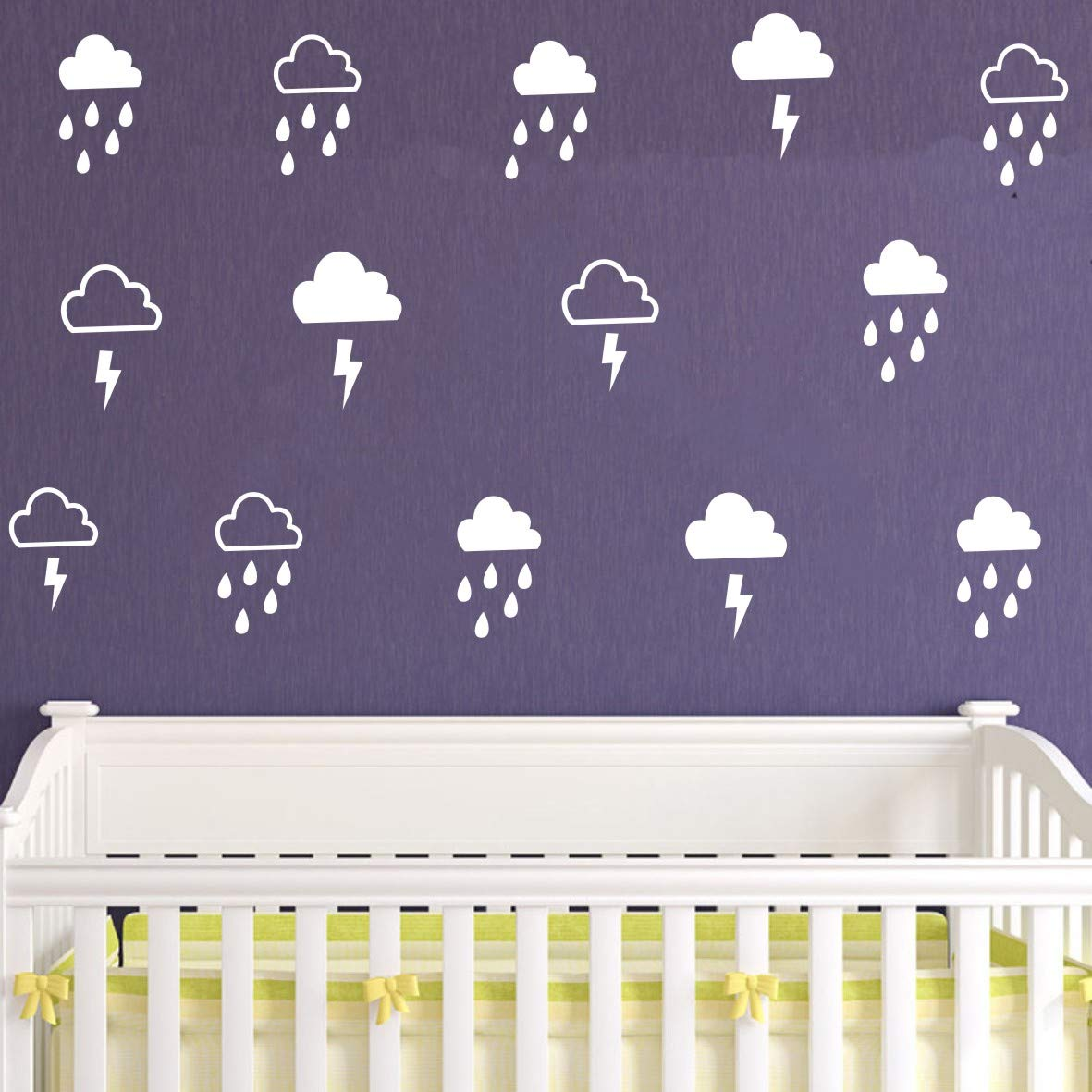 Kids Room Decor Wall Sticker Clouds Raindrop and Lightning Decor Wall Stickers Nursery Room Bedroom Decoration Wall Mural (White About 8x13cm Total 40 Sets)