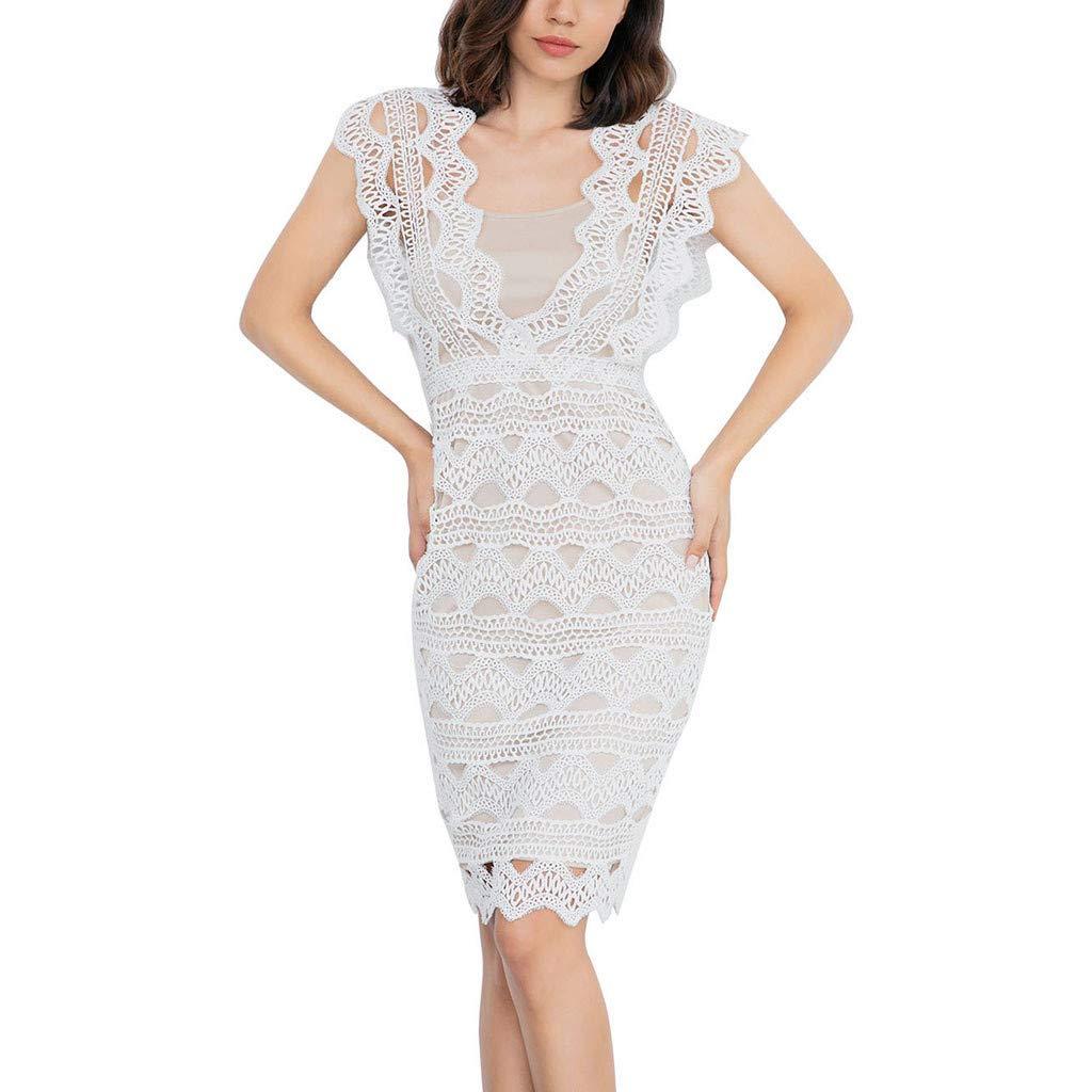 Reokoou Women's Lace Mini Dress Short Skirt White