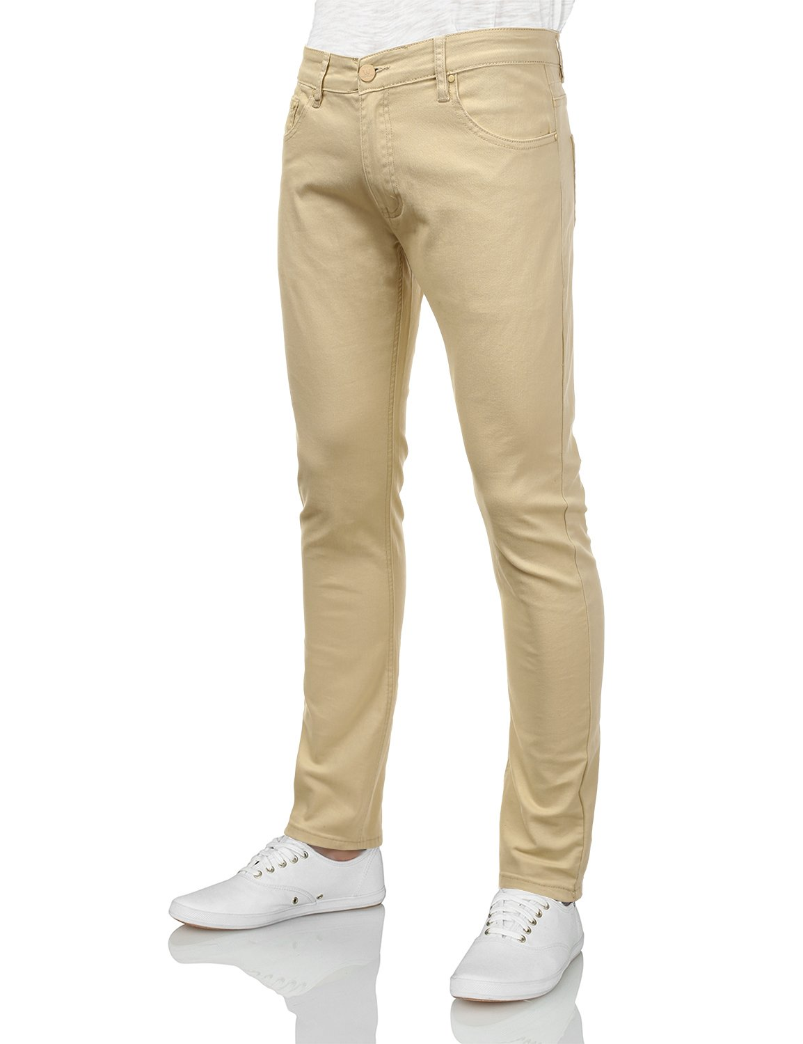 IDARBI Mens Basic Casual Cotton Skinny-Fit Jeans Beige 36/32