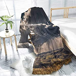 jecycleus Farmhouse Decor Rugged or Durable Camping Blanket Puffy Clouds in Sky Over Mountains Rough Valley Canyon Natural Wonders Concept Warm and Washable W70 x L84 Inch Multi