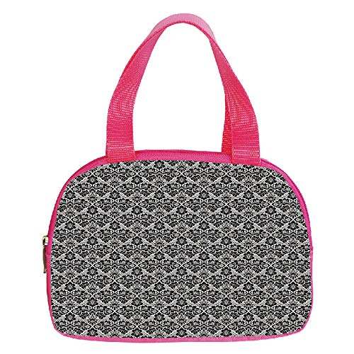 - Polychromatic Optional Small Handbag Pink,Harbour Stripe,Soft Toned Nautical Uniform Brushstroke Simplistic Artful Lines Theme Decorative,Light Blue White,for Girls,Print Design.6.3