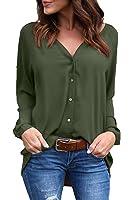 Sunfury Women Cuffed Long Sleeve Button Down Shirts Casual V Neck Blouses Tops
