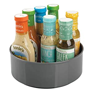 mDesign Plastic Round Lazy Susan Rotating Turntable Food Storage Container for Cabinet, Pantry, Refrigerator, Countertop, Spinning Organizer for Spices, Condiments, Baking Supplies - Charcoal Gray