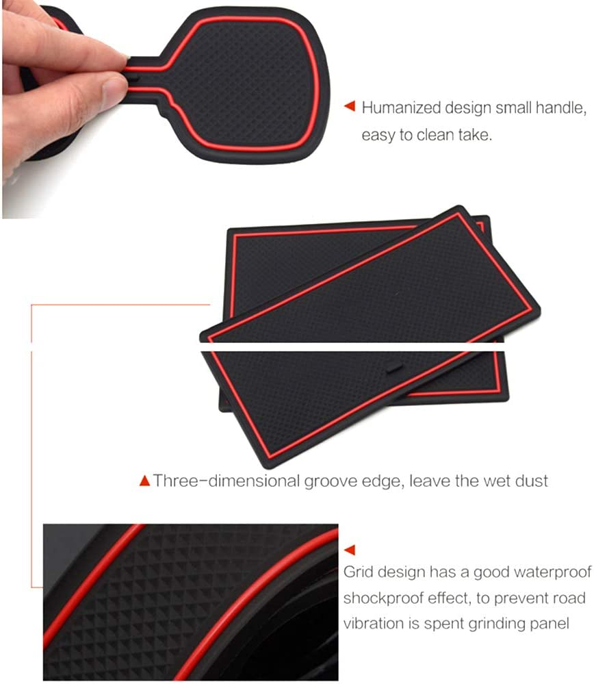 Aoyade Custom Fit for Range Rover Evoque 2012-2018 Door Gate Slot Storage Pad Interior Cup Mats Console Liner Accessories Non-Slip Anti-dust Rubber 8Pcs//Set Red
