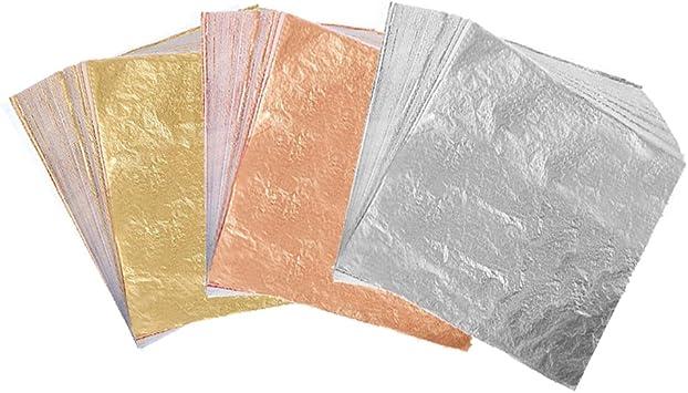 Decoration,Frames Gilding Crafting 300 Sheets Imitation Golden Silver Rose Color Leaf,Foil Paper for Arts Furniture 5.5 by 5.5 Inches