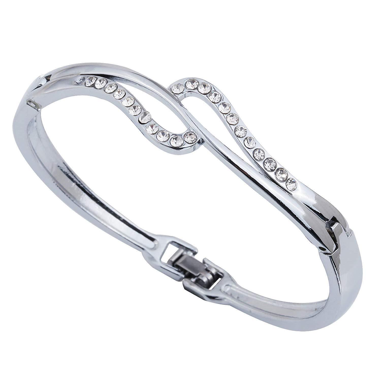 DVANIS Bangle Plated Silver Full Crystal Bangle Bracelet in Jewelry Diameter:2.2In