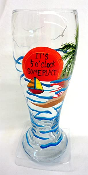 Amazoncom Tropical Beach Themed Beer Glass Its 5 Oclock