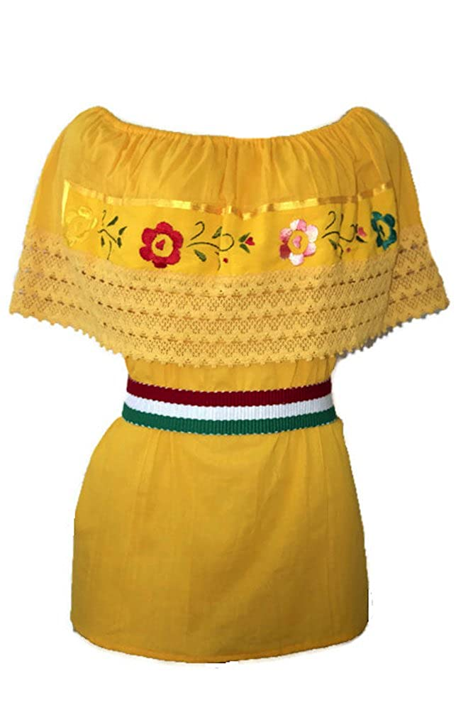 Traditional Mexican Golden Yellow Belted Shirt (Available in Regular and Plus Sizes) - DeluxeAdultCostumes.com