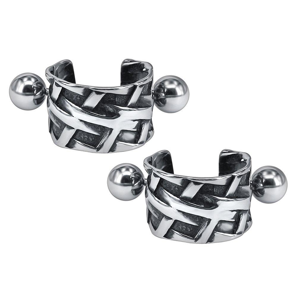 Punk Unique Cartilage Ear Cuff Surgical Steel Barbell Earring Hoop Tragus Helix Ear Lobe Stud Earrings PiercingCool