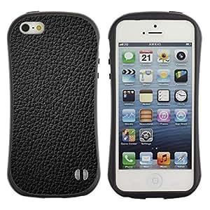 "Apple iPhone 5 / iPhone 5S , Radio-Star - Slim Fit Dual Barniz Protector Caso Case Funda ("" Black Leather Grain Full Pattern Grey"")"
