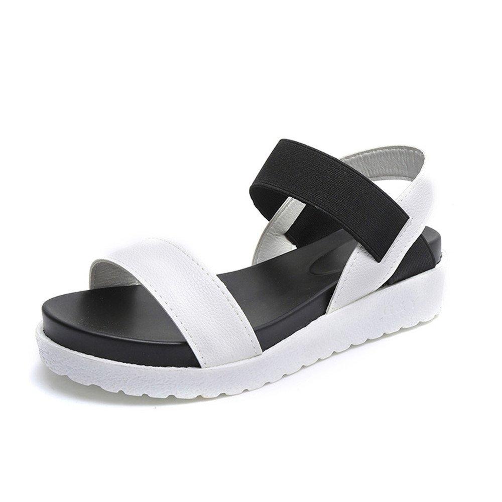 Sandales Femme Cuir Plateforme Toe Cuir Été Peep Toe Plage Sandales Chaussures Plates 4cm Noir Blanche Argent 35-40 Blanc c78aa1d - jessicalock.space