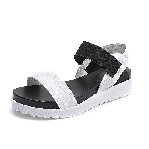 Sandalias Mujer Plataforma Cuero Verano Zapatillas Deportivas 4cm Negro Blanco Plata 35-40: Amazon.es: Zapatos y complementos