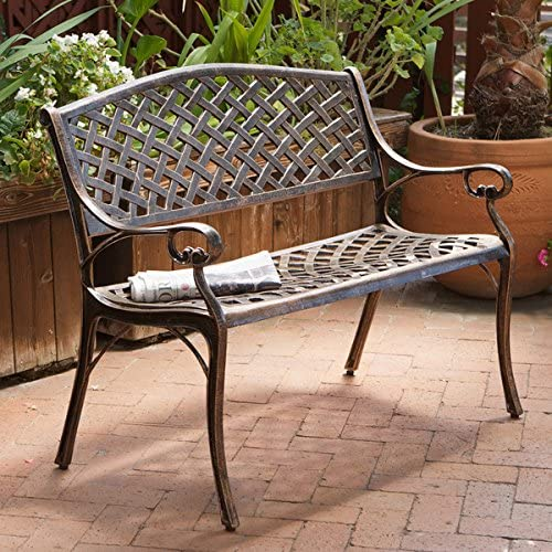 Copper Cast Aluminum Bench Is Weather Resistant and Rust Proof, Making It a Prime Piece for Any Outdoor Living Area, Porch, Patio, Garden, Deck or Balcony. This Stylish Garden Bench Creates a Perfect Park Setting in Any Backyard