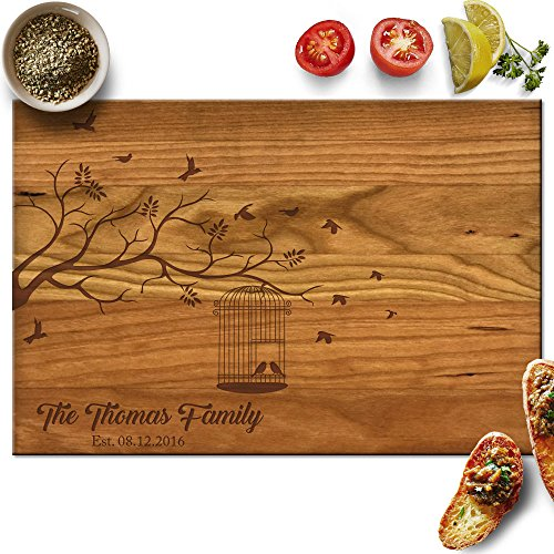 Froolu Tree & Bird Cage personalised wooden chopping board for Family Name Housewarming Gifts