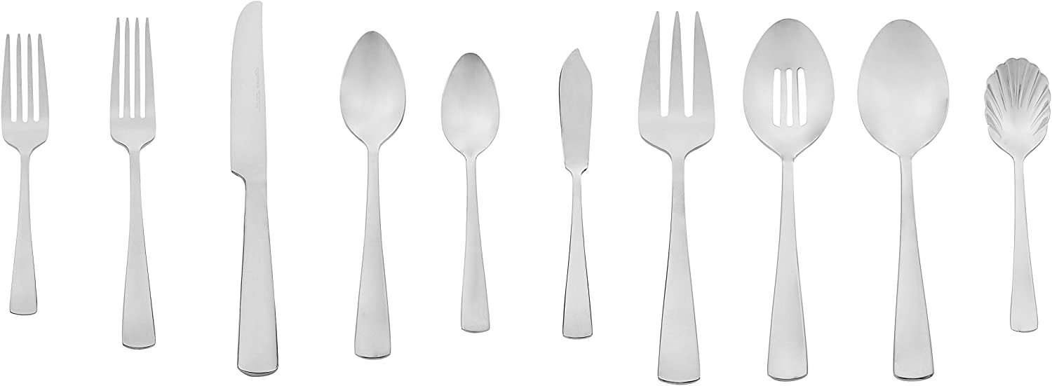AmazonBasics 65-Piece Stainless Steel Flatware Silverware Set with Square Edge, Service for 12