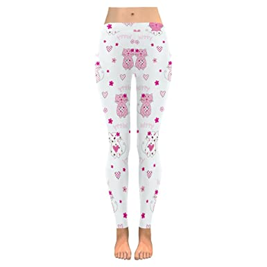 e49c15186b0 Image Unavailable. Image not available for. Color  InterestPrint pink cute  cats womens Low Rise yoga plus size Leggings ...