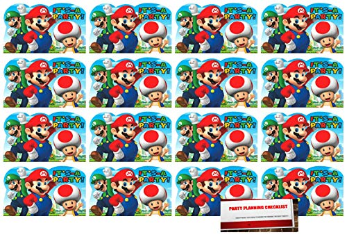 Super Mario Brothers 16 Postcard Invitations Birthday Party Supplies Value Pack plus Party Planning Checklist ()
