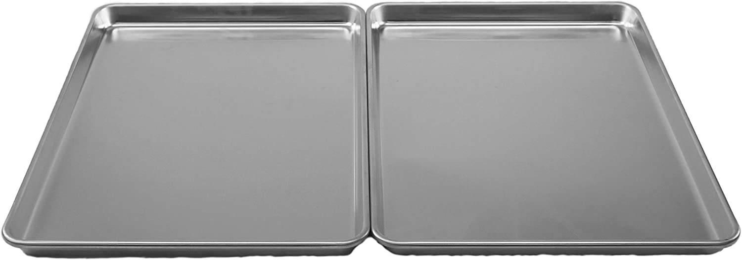 Chef Select Commercial Grade Aluminum Cookie Sheets, Set of 2, Extra-Large Size, 18 x 13-Inches, Heavy Gauge Aluminum