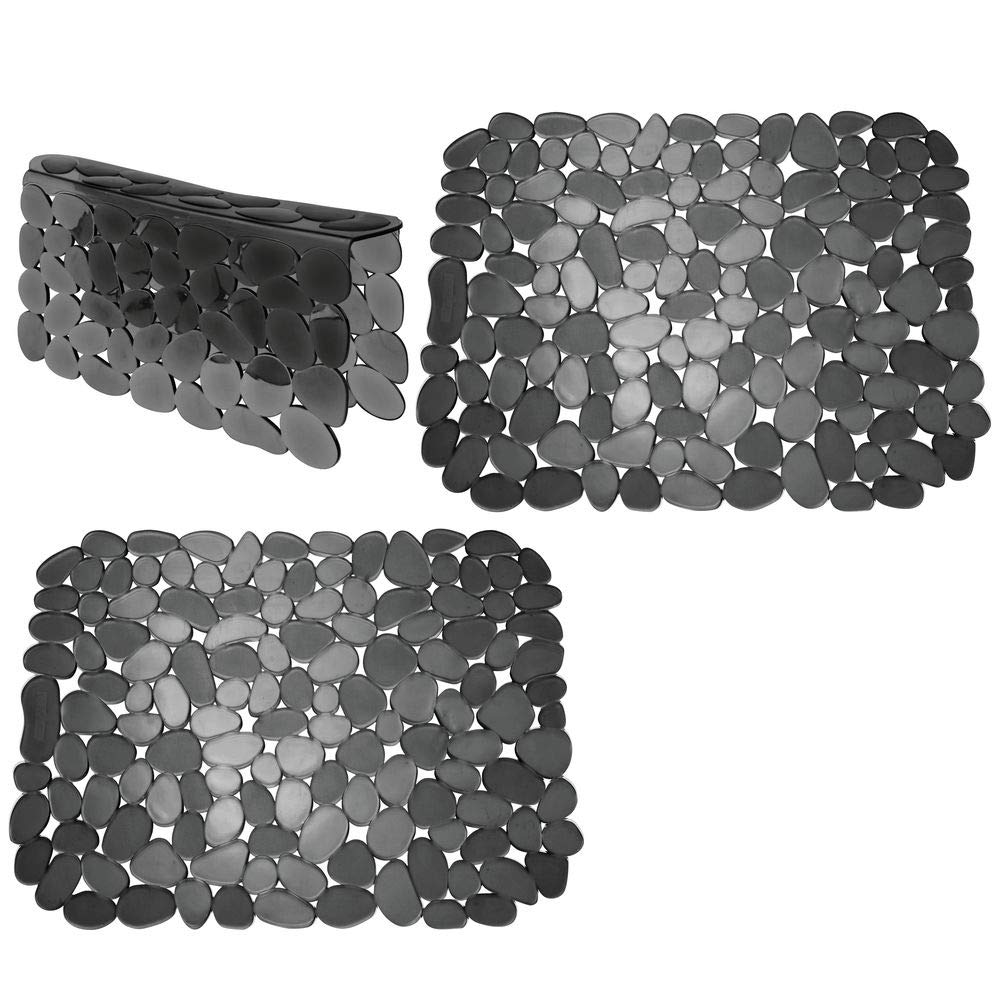 mDesign Adjustable Kitchen Sink Dish Drying Mat/Grid - Soft Plastic Sink Protector, Cushions Sinks, Dishes - Quick Draining Pebble Design - Includes 1 Saddle, 2 Large Mats - Set of 3 - Black by mDesign (Image #1)