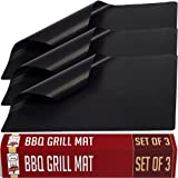 Twisted Chef BBQ Grill Mat - Set of 3 Non Stick Grill Mats - Essential Grilling Accessories and BBQ Tools.