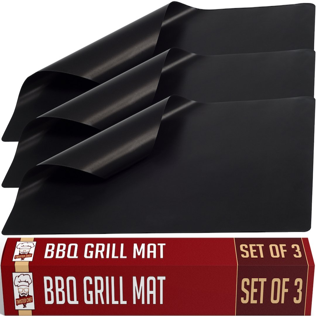Grill Mat BBQ Accessories by Twisted Chef, Set of 3 Miracle Mats, Use as Gas or Electric Oven Liners or Baking Sheets, Suitable For Charcoal Barbecues, 100% Non-Stick for Healthier Cooking, Easy to Clean, Dishwasher Safe, Enhance Your Grilling Now! TC-1