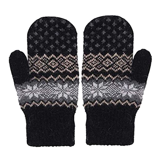 f78d1cd9734 Women Winter Gloves Mittens Warm Cozy Wool Knit Thick Fleece Lined ...