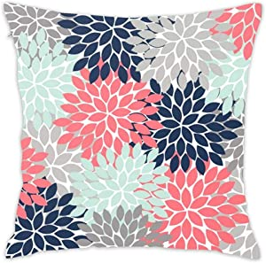 Flower Burst Petals Floral Pattern Navy Coral Mint Gray Decorative Throw Pillow Covers Square Cotton Pillowcases for Bedroom Sofa and Car 18