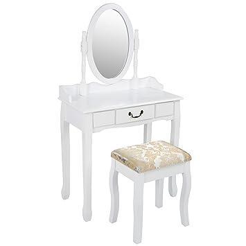 miadomodo mesa para maquillaje tocador moderno para dormitorio con cajn taburete y espejo