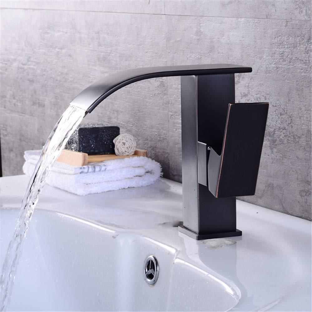 B Oudan All Copper Bathroom Faucet Basin Faucet Black Black Antique Bronze Faucet Waterfall Faucet Hot and Cold Faucet Dwarf B (color   B, Size   -)