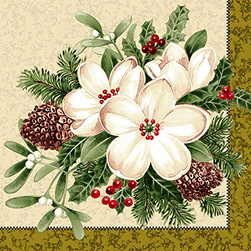 Dining Collection Decorative Floral Paper Lunch Napkins - Time for Cheer, 20 Count, 6.5 inch ()