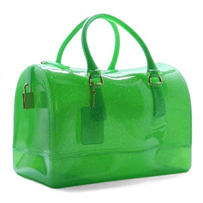 Beni Glitter Jelly Candy Tote Satchel Bag (L/Green(101)): Handbags ...