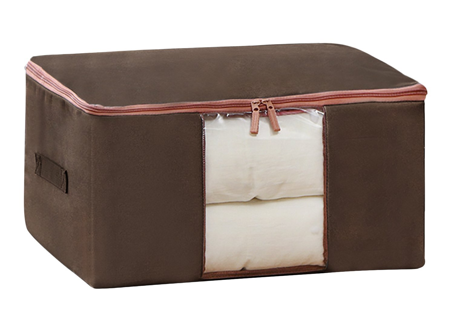 Moonlove Dampproof Oxford Bedquilt Duvet Organiser Bag Dual-zippered With See-through Window and Handle Bedding Blankets Qulit Clothes Under-bed Universal Storage Bag, Brown, Large