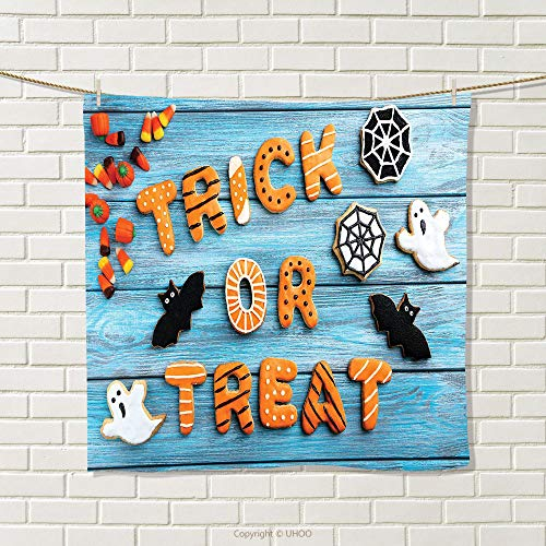 smallbeefly Vintage Halloween Hand Towel Trick or Treat Cookie Wooden Table Ghost Bat Web Halloween Quick-Dry Towels Blue Amber Multicolor Size: W 20