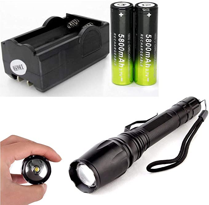 2 x Tactical Ultrafire Flashlight T6 90000LM 5 Modes Zoom Focus 18650 Battery