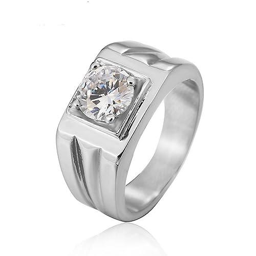 Taizhiwei diamante circonita titanio acero inoxidable anillos talla anillo compromiso boda matrimonio joyeria dorados hombre