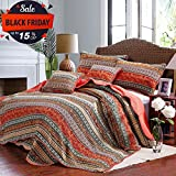Floral Striped Quilt Set Cotton King Size Exquisite Flower Printed Bedspread Set Patchwork Coverlet Set Solid Back Reversible Bed Quilt Luxury Warm Winter Quilt Comforter Set, Multi-Colored, Style1
