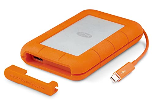 LaCie STEV2000400 2 TB Rugged Thunderbolt + USB 3.0 Portable 2.5 Inch Shock, Drop and Crush Resistant External Hard Drive for PC and Mac