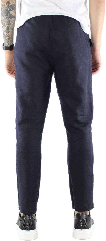 Pantaloni Lino Uomo Estivi Beige Bianchi Blu Neri Pantalone Leggero con Elastico in Vita