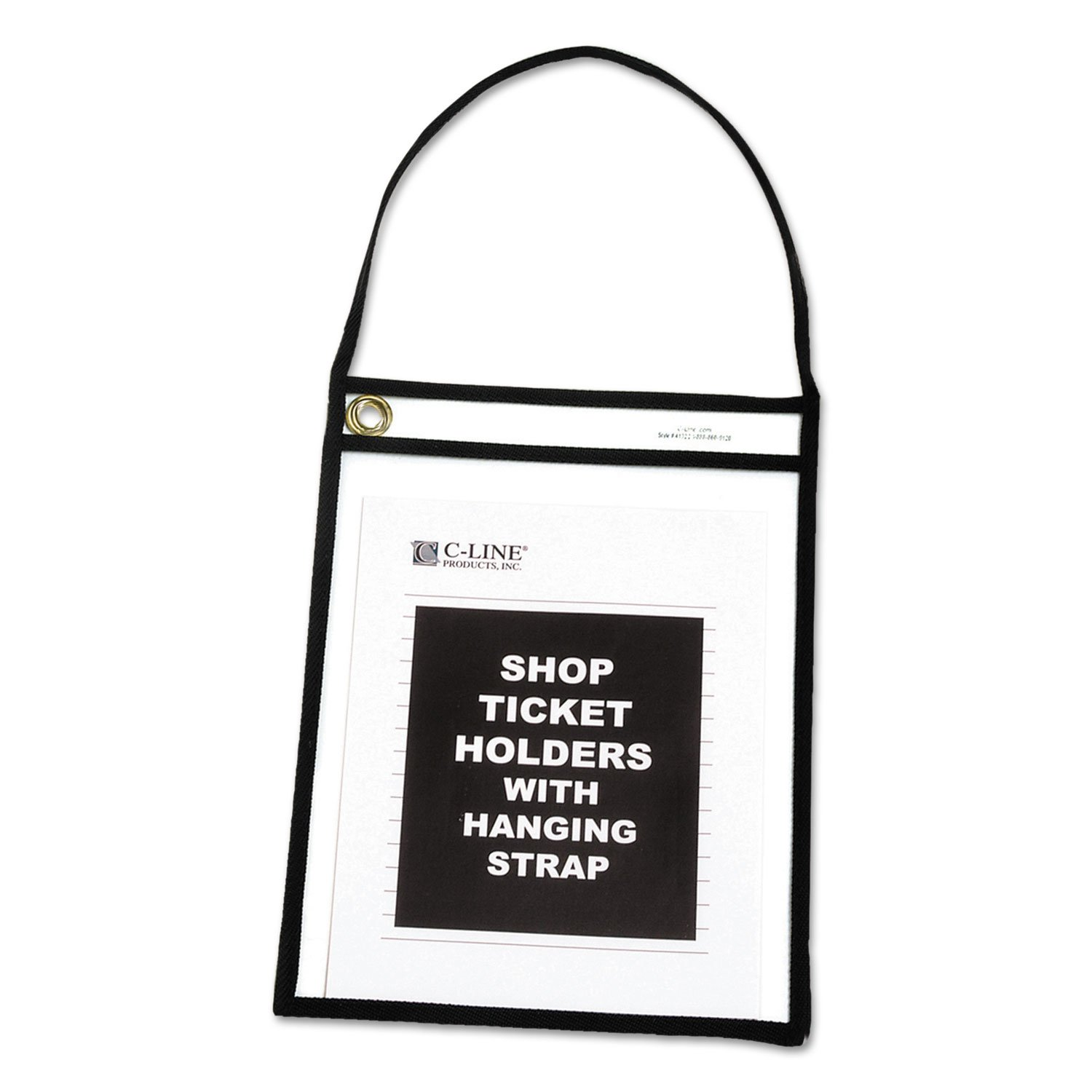 C-Line 41922 Shop Ticket Holder with Strap, Black, Stitched, 75'', 9 x 12 (Box of 15)