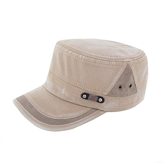 0a99f8f1a3a Etosell Men Women Adjustable Army Plain Vintage Hat Cadet Military Baseball  Cap Beige