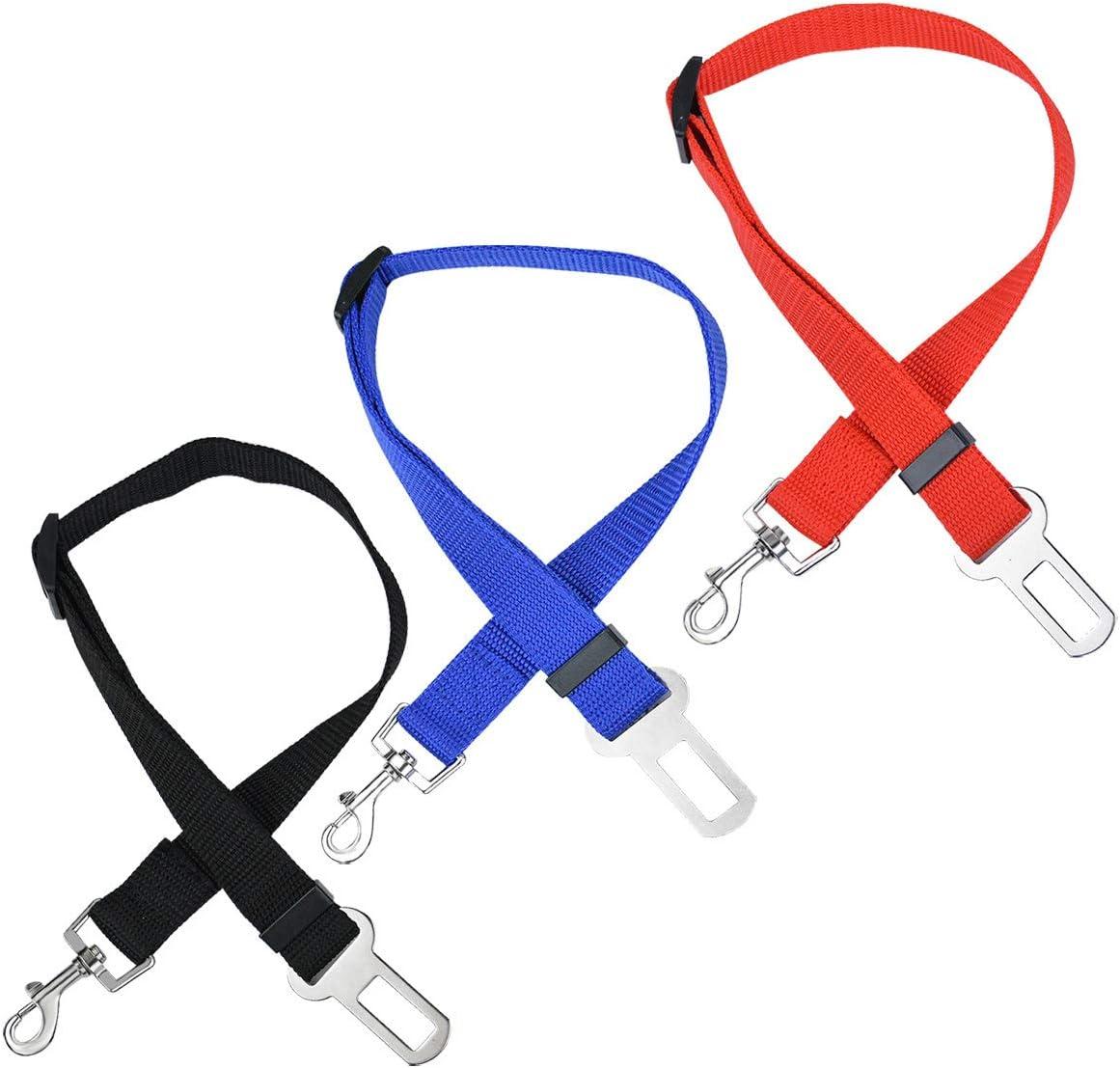 Elisel 2 Packs Adjustable Length Pet Dog Cat car seat Belt Pet seat Belt Pet Accessories for Dogs Cats and Pets